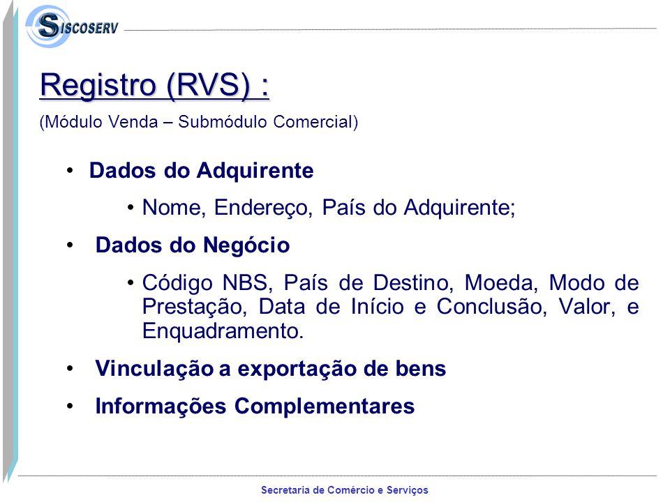 Registro (RVS) : Dados do Adquirente