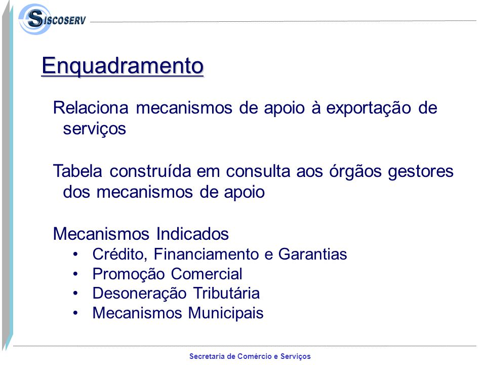 Enquadramento Relaciona mecanismos de apoio à exportação de serviços