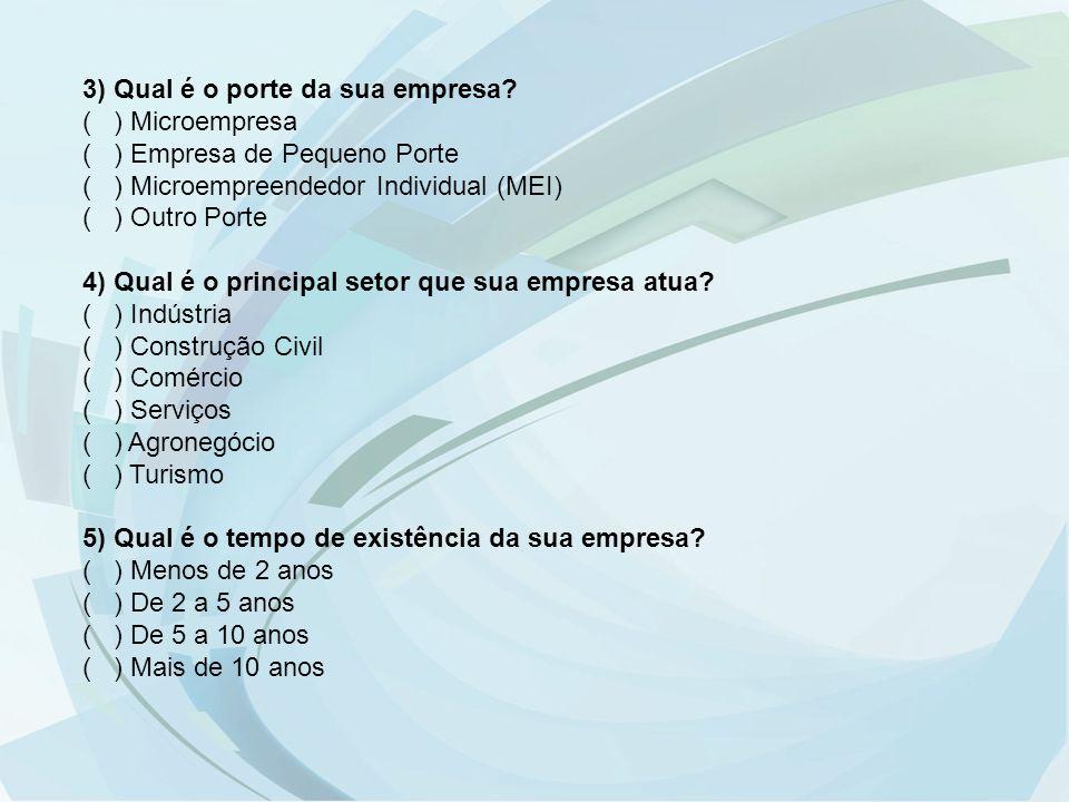 3) Qual é o porte da sua empresa ( ) Microempresa. ( ) Empresa de Pequeno Porte. ( ) Microempreendedor Individual (MEI)