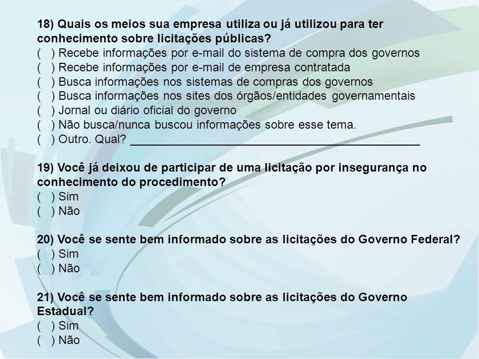 18) Quais os meios sua empresa utiliza ou já utilizou para ter conhecimento sobre licitações públicas