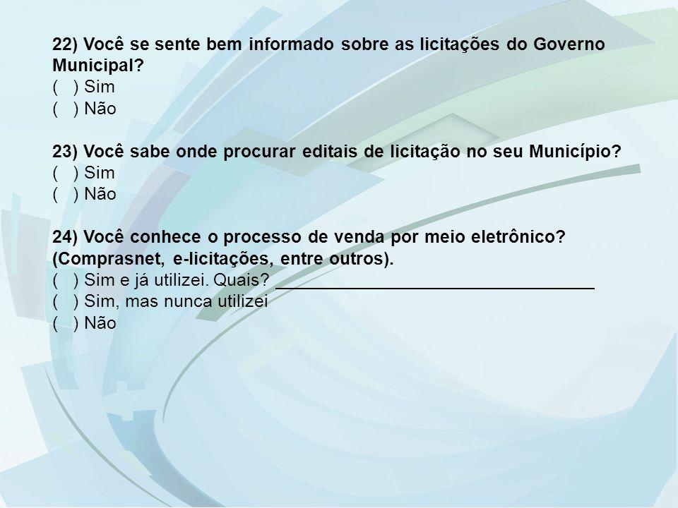 22) Você se sente bem informado sobre as licitações do Governo Municipal