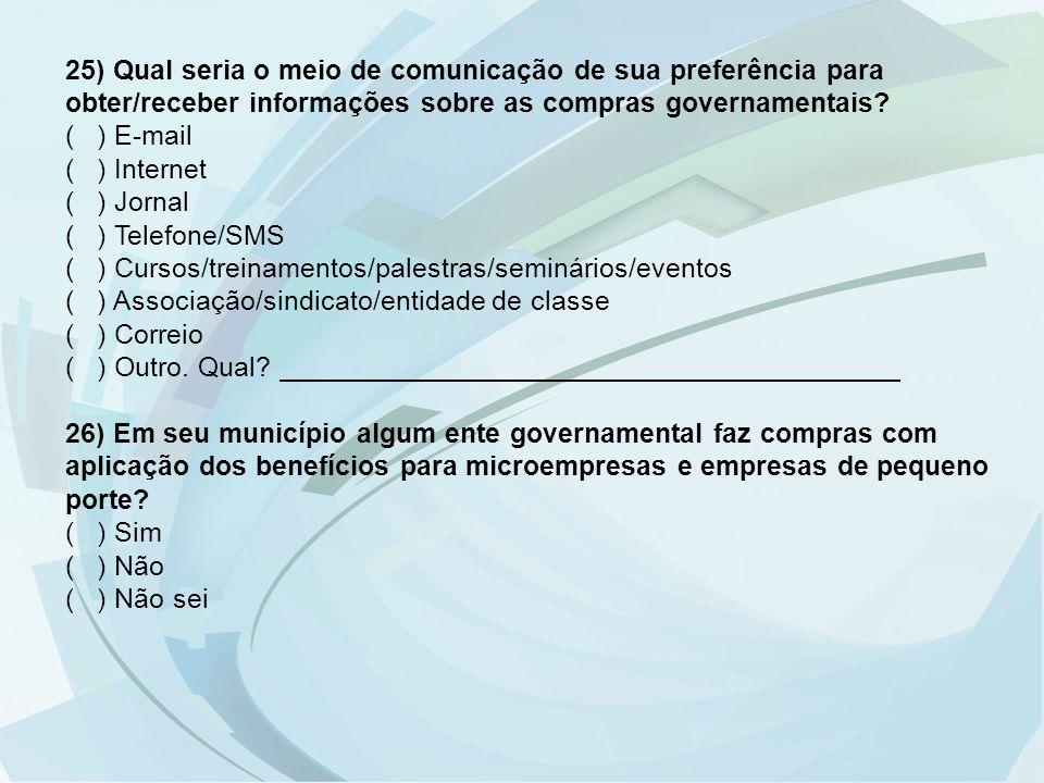 25) Qual seria o meio de comunicação de sua preferência para obter/receber informações sobre as compras governamentais