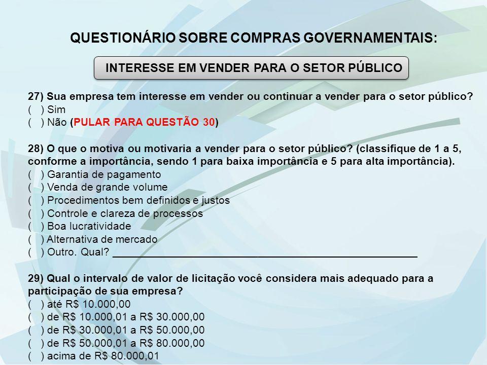 QUESTIONÁRIO SOBRE COMPRAS GOVERNAMENTAIS: