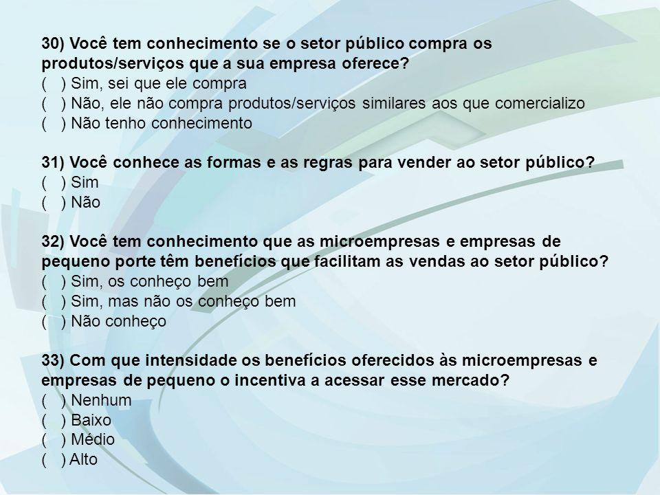 30) Você tem conhecimento se o setor público compra os produtos/serviços que a sua empresa oferece