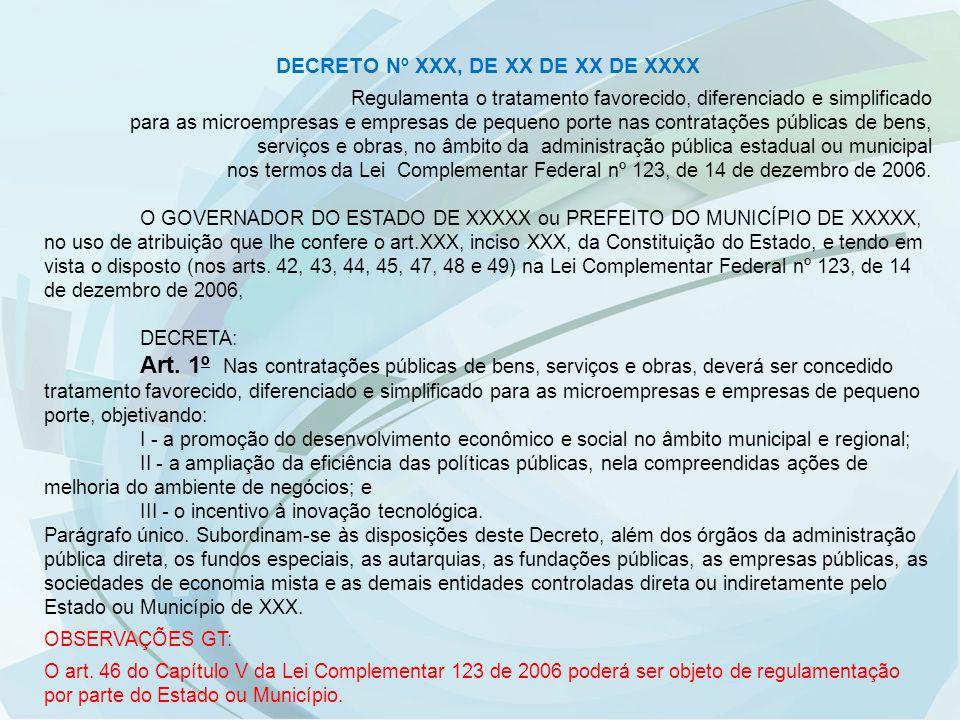 DECRETO Nº XXX, DE XX DE XX DE XXXX