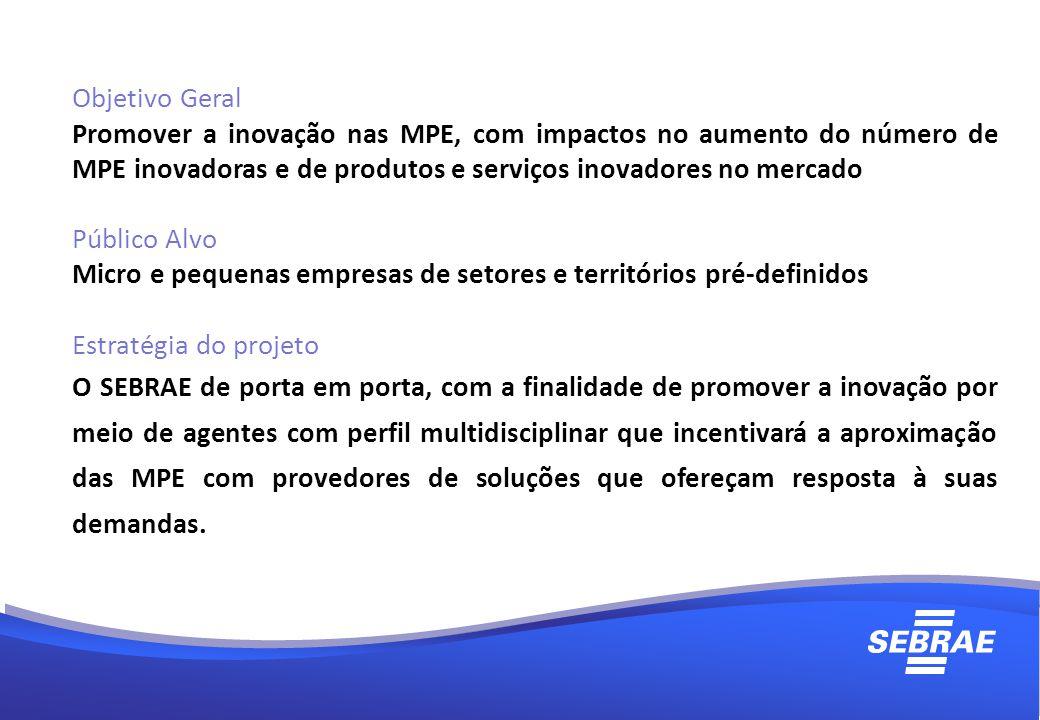 Objetivo Geral Promover a inovação nas MPE, com impactos no aumento do número de MPE inovadoras e de produtos e serviços inovadores no mercado.