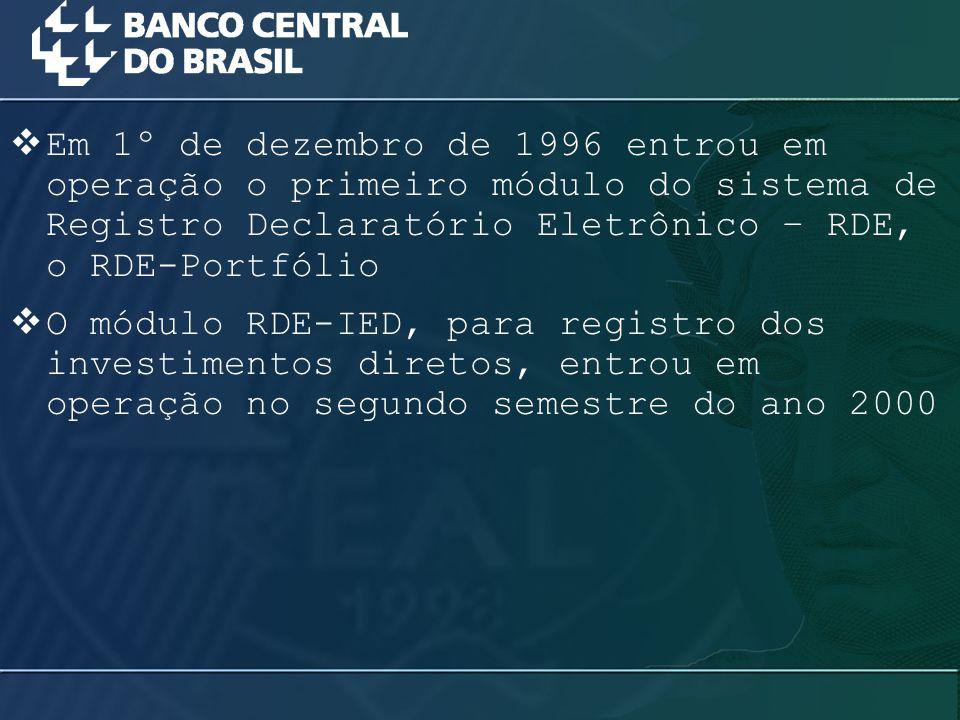 Em 1º de dezembro de 1996 entrou em operação o primeiro módulo do sistema de Registro Declaratório Eletrônico – RDE, o RDE-Portfólio