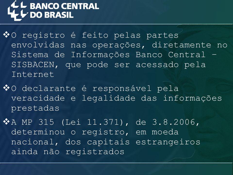 O registro é feito pelas partes envolvidas nas operações, diretamente no Sistema de Informações Banco Central – SISBACEN, que pode ser acessado pela Internet