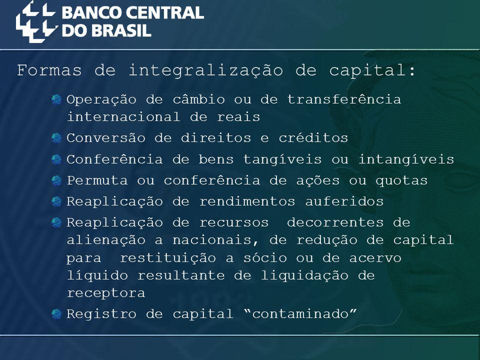 Formas de integralização de capital: