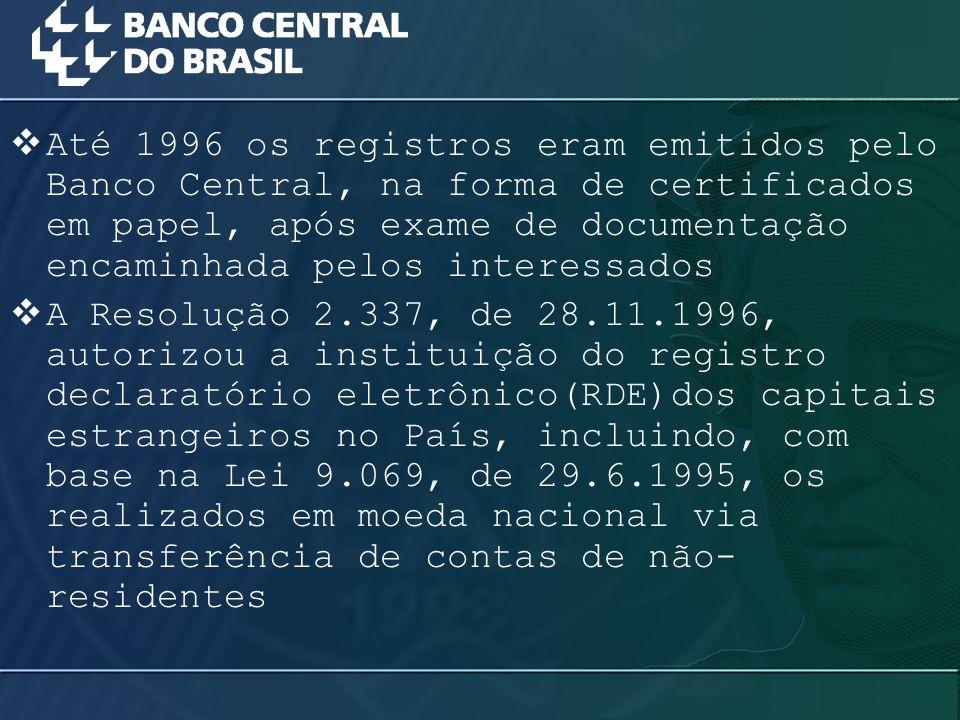 Até 1996 os registros eram emitidos pelo Banco Central, na forma de certificados em papel, após exame de documentação encaminhada pelos interessados