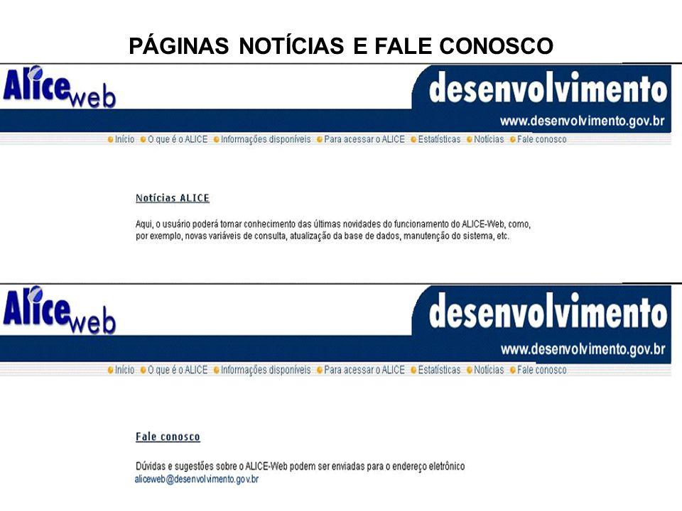 PÁGINAS NOTÍCIAS E FALE CONOSCO