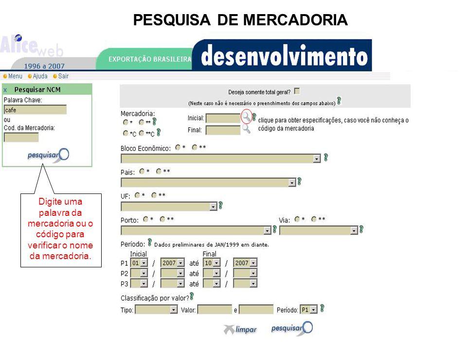 PESQUISA DE MERCADORIA