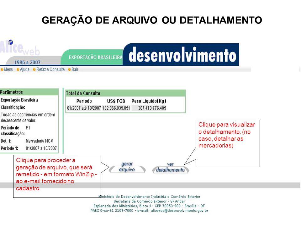 GERAÇÃO DE ARQUIVO OU DETALHAMENTO