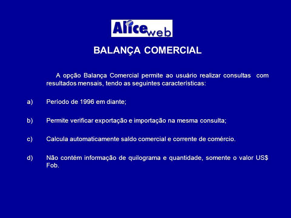 BALANÇA COMERCIAL A opção Balança Comercial permite ao usuário realizar consultas com resultados mensais, tendo as seguintes características: