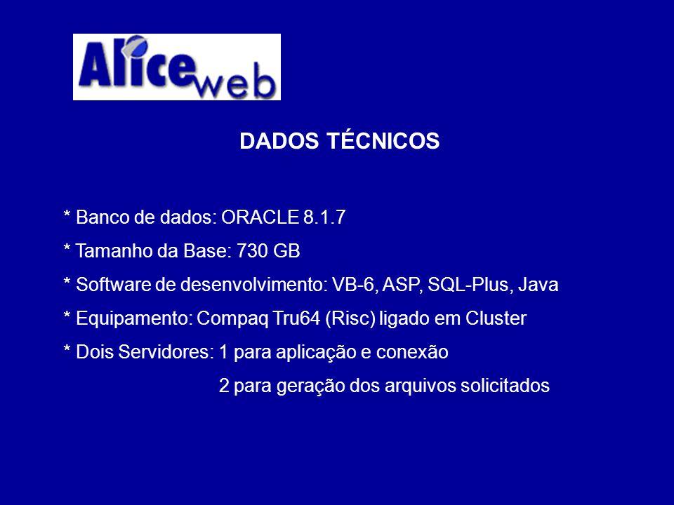 DADOS TÉCNICOS * Banco de dados: ORACLE 8.1.7