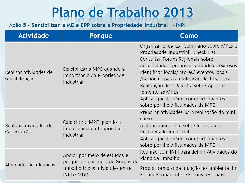 Plano de Trabalho 2013 Atividade Porque Como