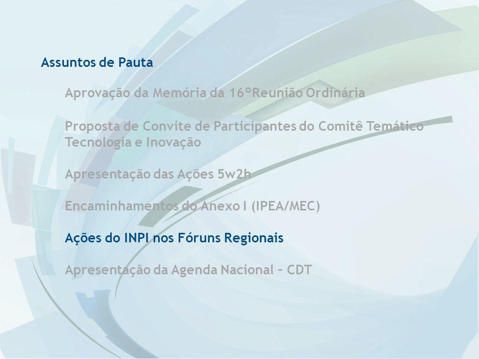 Assuntos de Pauta Aprovação da Memória da 16°Reunião Ordinária. Proposta de Convite de Participantes do Comitê Temático Tecnologia e Inovação.