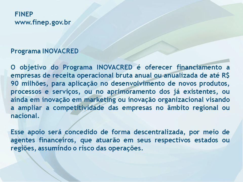 FINEP www.finep.gov.br. Programa INOVACRED.