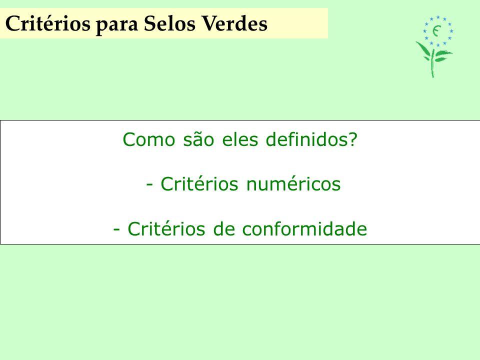 Critérios para Selos Verdes