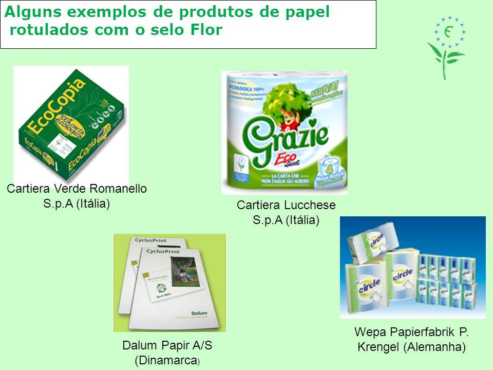 Alguns exemplos de produtos de papel rotulados com o selo Flor