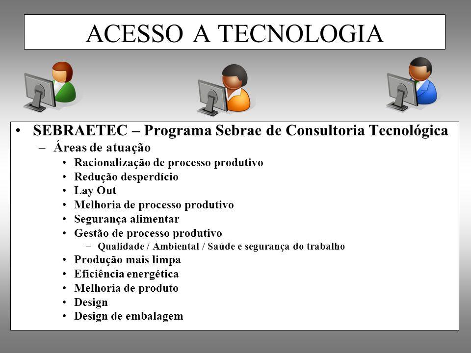 ACESSO A TECNOLOGIA SEBRAETEC – Programa Sebrae de Consultoria Tecnológica. Áreas de atuação. Racionalização de processo produtivo.