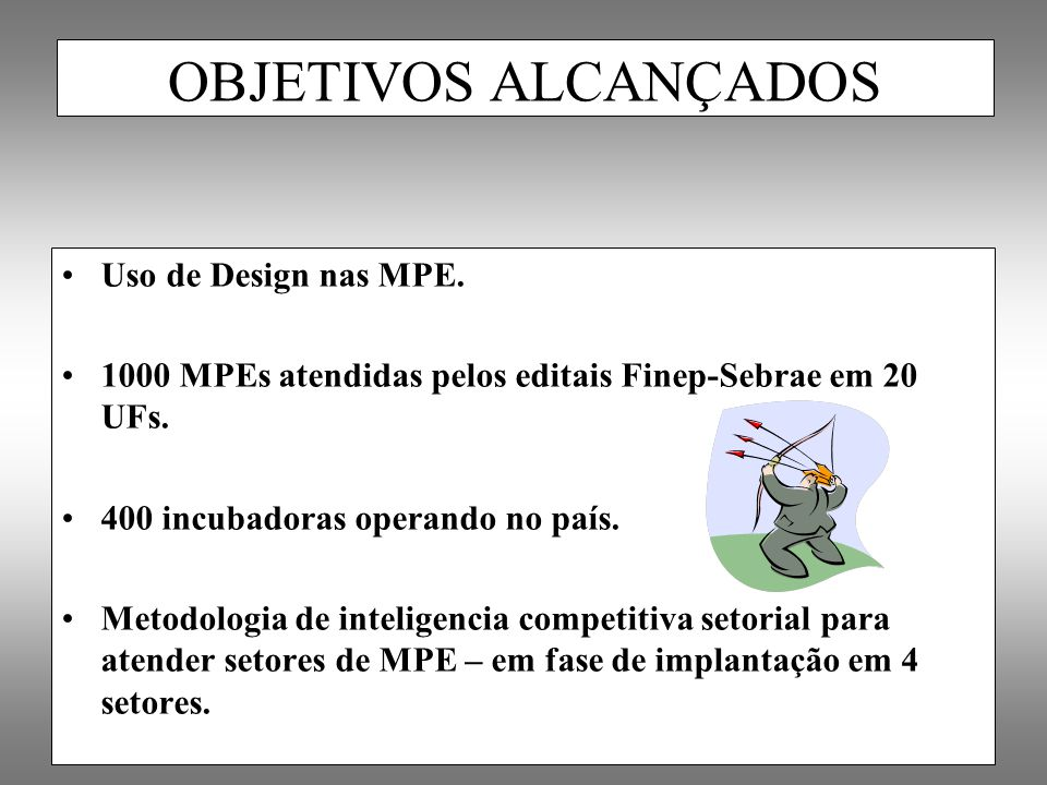 OBJETIVOS ALCANÇADOS Uso de Design nas MPE.