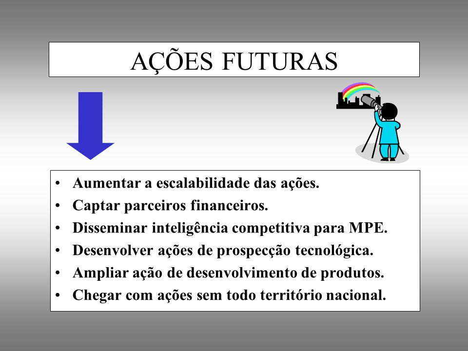 AÇÕES FUTURAS Aumentar a escalabilidade das ações.