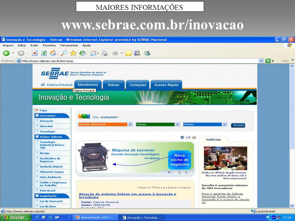 MAIORES INFORMAÇÕES www.sebrae.com.br/inovacao 64