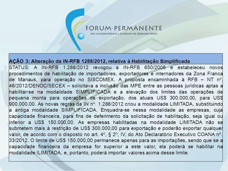 AÇÃO 3: Alteração da IN-RFB 1288/2012, relativa à Habilitação Simplificada