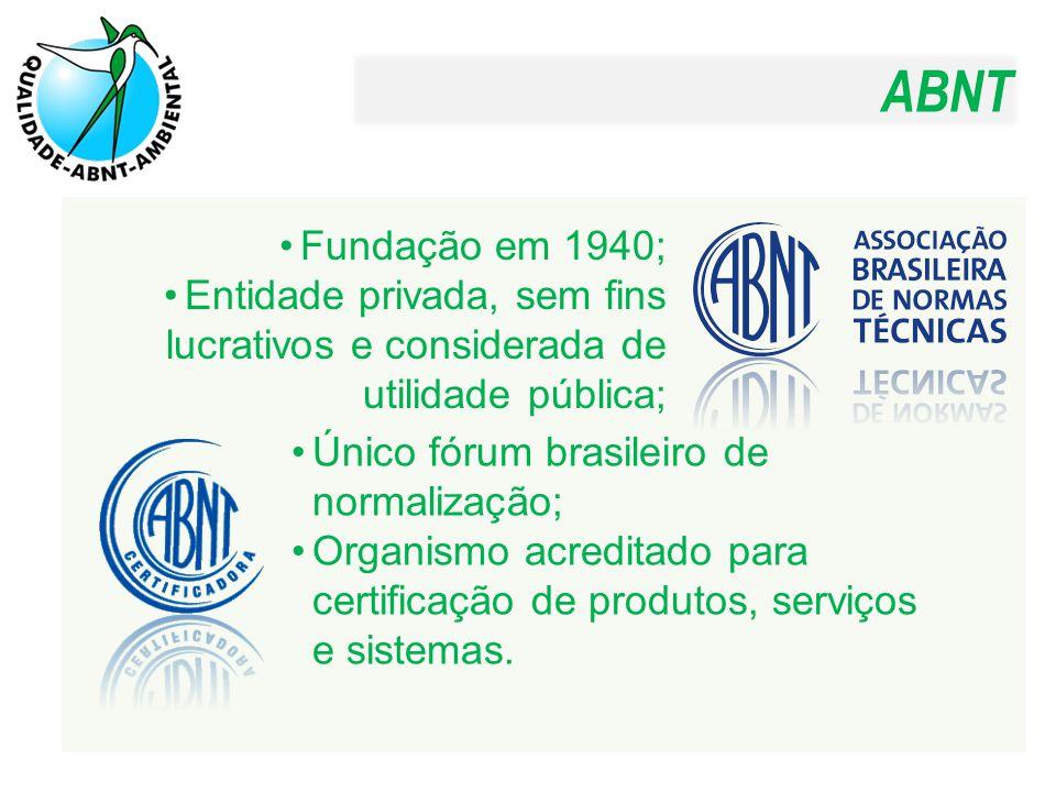ABNT Fundação em 1940; Entidade privada, sem fins lucrativos e considerada de utilidade pública; Único fórum brasileiro de normalização;