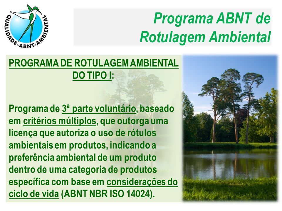 PROGRAMA DE ROTULAGEM AMBIENTAL DO TIPO I: