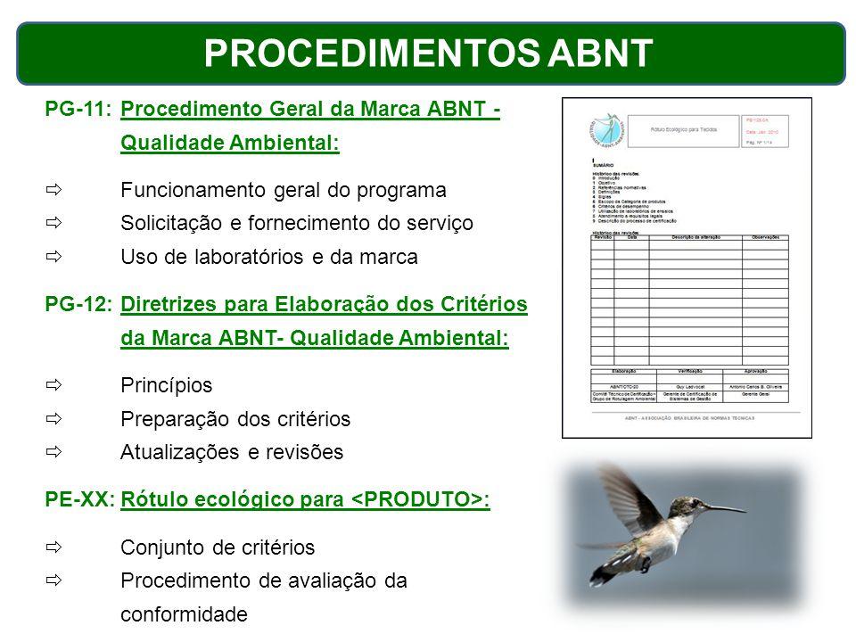 PROCEDIMENTOS ABNT PG-11: Procedimento Geral da Marca ABNT - Qualidade Ambiental: Funcionamento geral do programa.