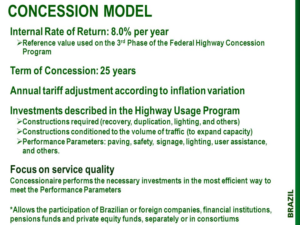 CONCESSION MODEL Internal Rate of Return: 8.0% per year