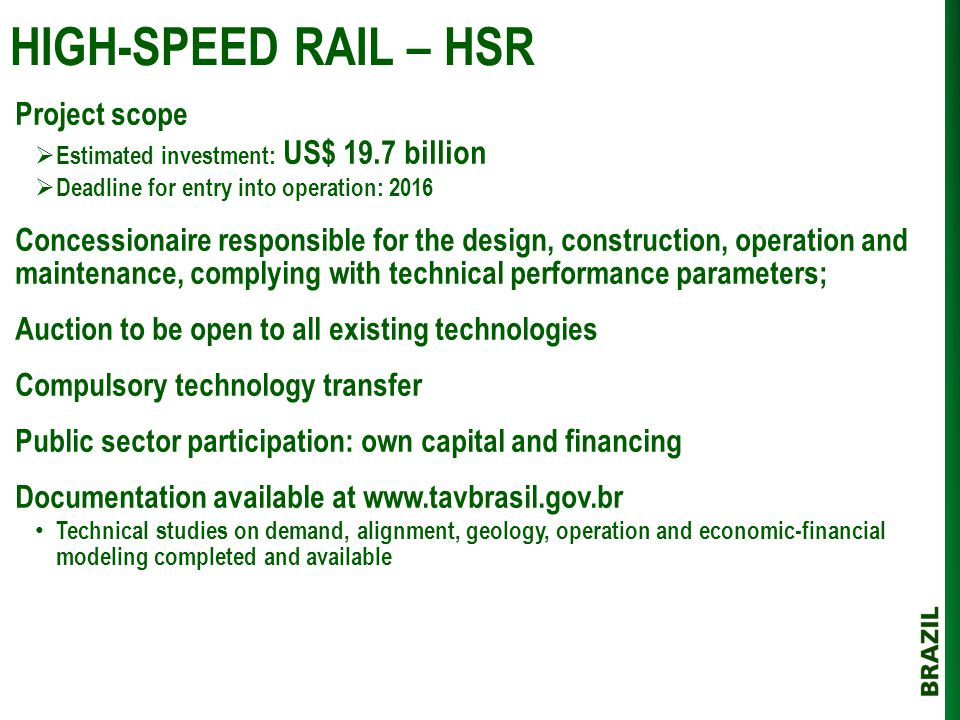 HIGH-SPEED RAIL – HSR Project scope