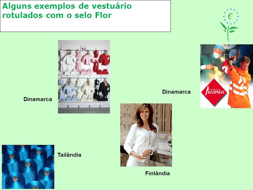 Alguns exemplos de vestuário rotulados com o selo Flor