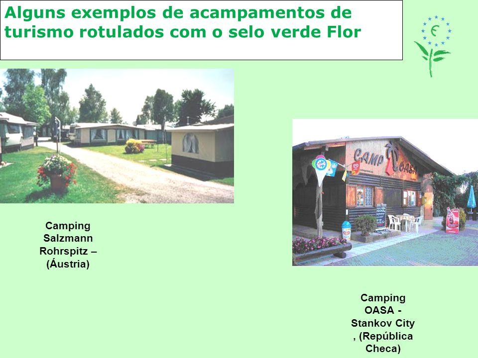 Alguns exemplos de acampamentos de turismo rotulados com o selo verde Flor
