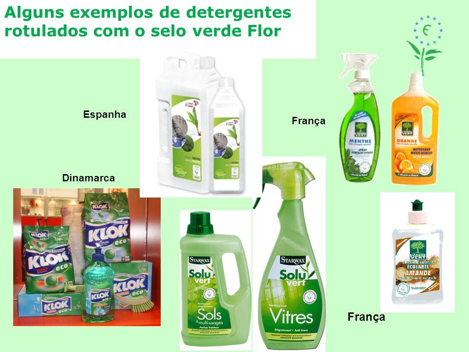 Alguns exemplos de detergentes rotulados com o selo verde Flor