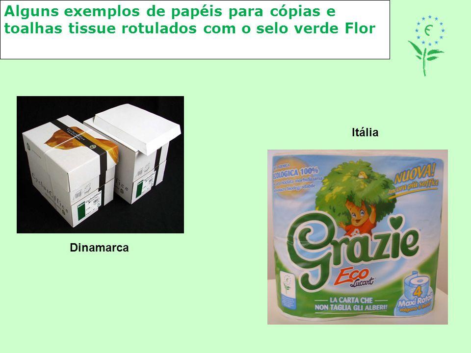 Alguns exemplos de papéis para cópias e toalhas tissue rotulados com o selo verde Flor