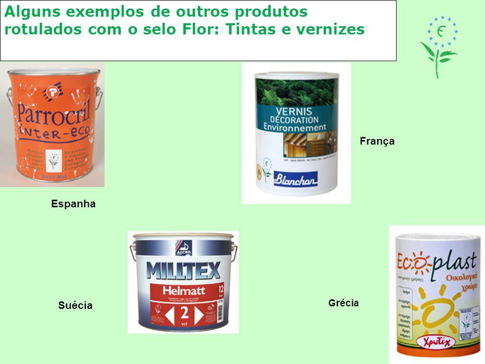 Alguns exemplos de outros produtos rotulados com o selo Flor: Tintas e vernizes