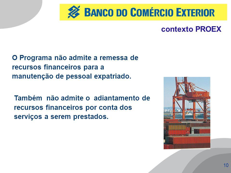 contexto PROEX O Programa não admite a remessa de recursos financeiros para a manutenção de pessoal expatriado.