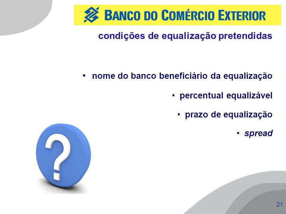nome do banco beneficiário da equalização