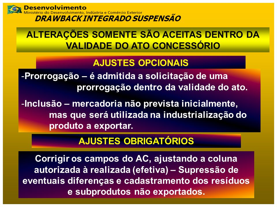 ALTERAÇÕES SOMENTE SÃO ACEITAS DENTRO DA VALIDADE DO ATO CONCESSÓRIO