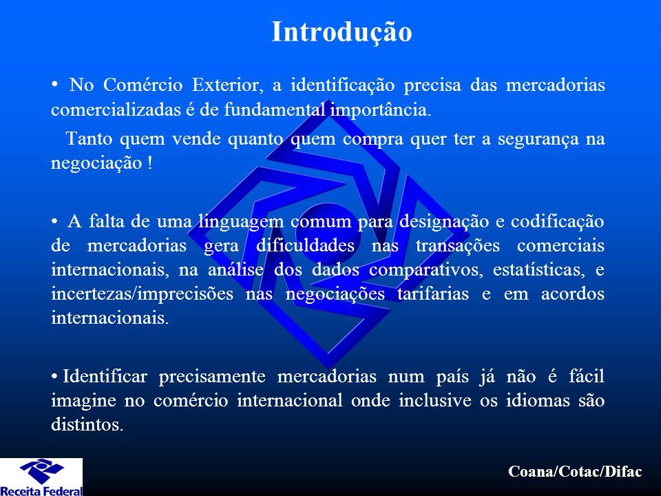 Introdução No Comércio Exterior, a identificação precisa das mercadorias comercializadas é de fundamental importância.