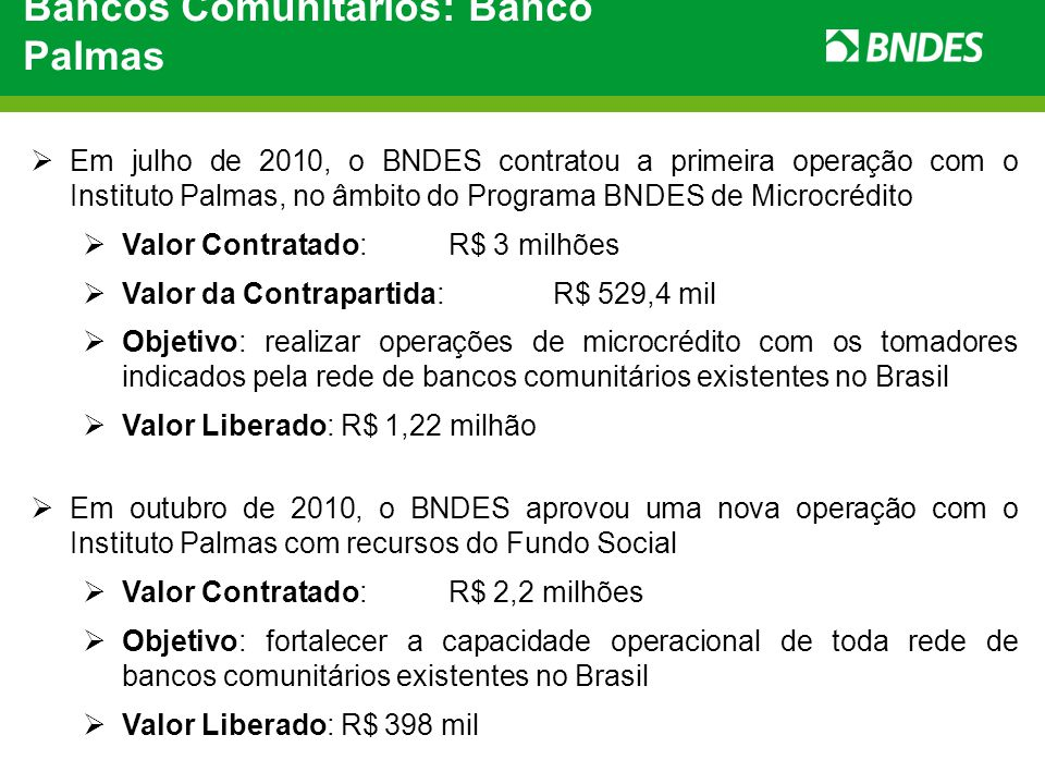 Bancos Comunitários: Banco Palmas