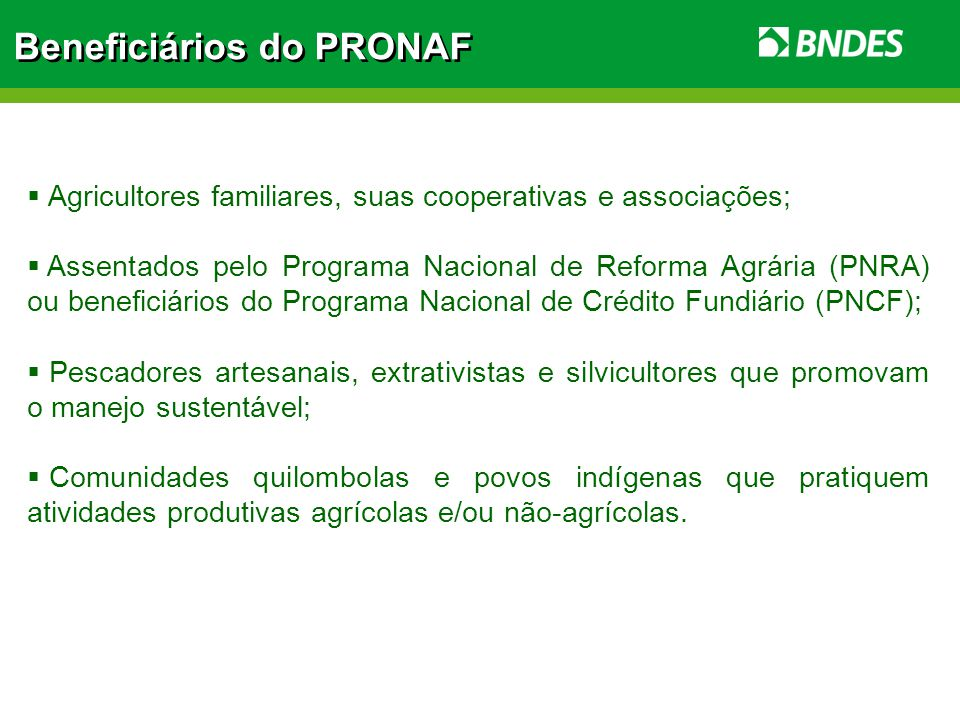 Beneficiários do PRONAF