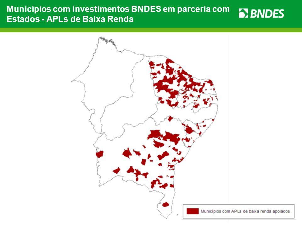 Municípios com investimentos BNDES em parceria com Estados - APLs de Baixa Renda