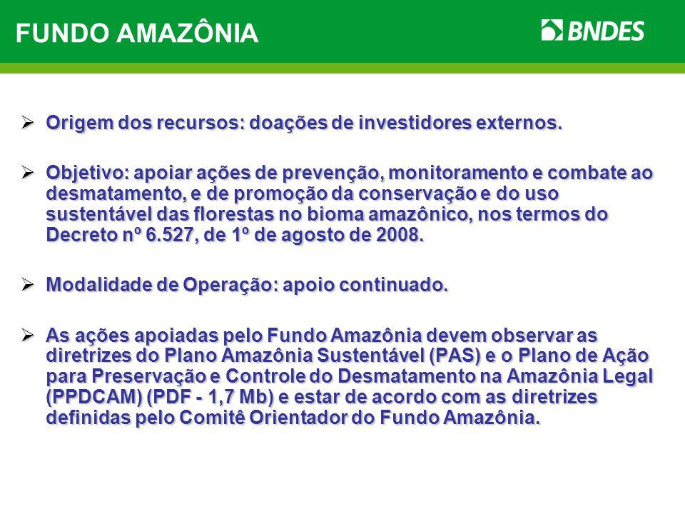 FUNDO AMAZÔNIA Origem dos recursos: doações de investidores externos.