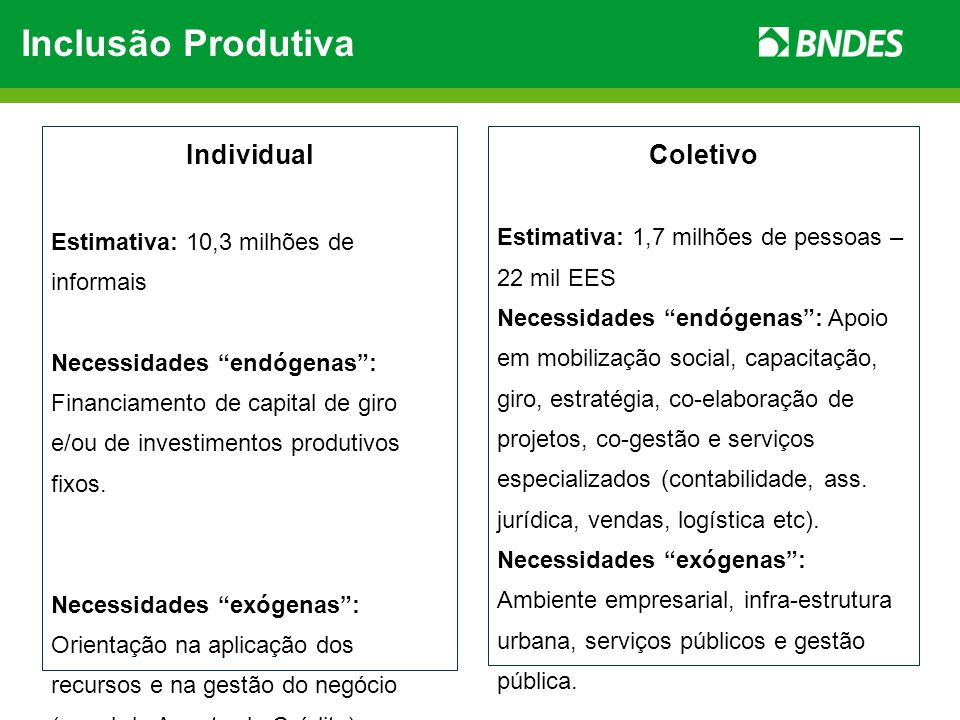 Inclusão Produtiva Individual Coletivo