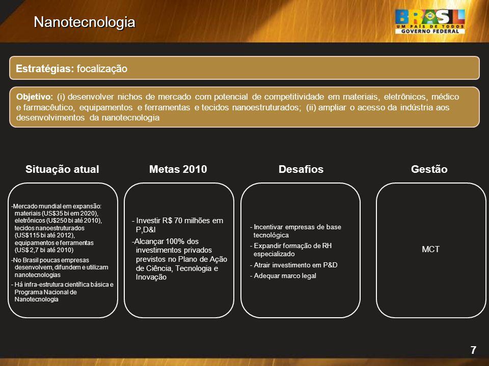 Nanotecnologia Situação atual Metas 2010 Desafios Gestão 7