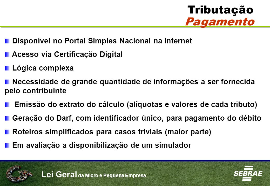 Tributação Pagamento Disponível no Portal Simples Nacional na Internet
